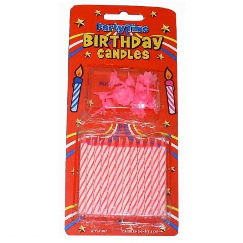 24 x Birthday Cake Candles & 12 Holders - PINK